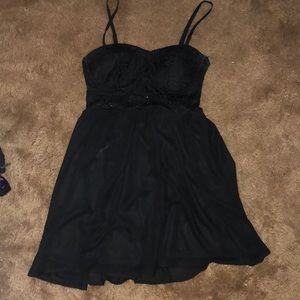 Short black dress with lace